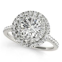 1.5 CTW Certified VS/SI Diamond Solitaire Halo Ring 18K White Gold - REF-390W5H - 26225