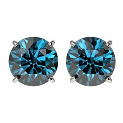 2.50 CTW Certified Intense Blue SI Diamond Solitaire Stud Earrings 10K White Gold - REF-338R2K - 331