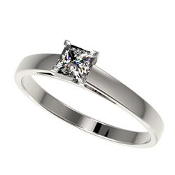 0.50 CTW Certified VS/SI Quality Princess Diamond Solitaire Ring 10K White Gold - REF-77H6W - 32965