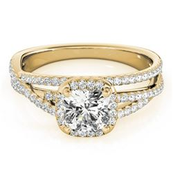 1 CTW Certified VS/SI Cushion Diamond Solitaire Halo Ring 18K Yellow Gold - REF-183K3R - 27092