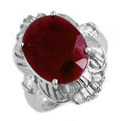 7.84 CTW Ruby & Diamond Ring 18K White Gold - REF-94R8K - 13240