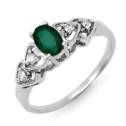 0.57 CTW Emerald & Diamond Ring 18K White Gold - REF-30W8H - 12583
