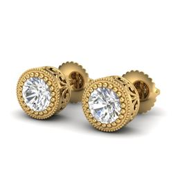 1.09 CTW VS/SI Diamond Solitaire Art Deco Stud Earrings 18K Yellow Gold - REF-180F2M - 36889