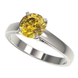 1.50 CTW Certified Intense Yellow SI Diamond Solitaire Ring 10K White Gold - REF-262R2K - 33027