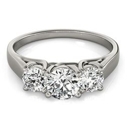 1.3 CTW Certified VS/SI Diamond 3 Stone Ring 18K White Gold - REF-235K3R - 28053