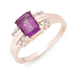 1.41 CTW Amethyst & Diamond Ring 18K Rose Gold - REF-35H3W - 13557