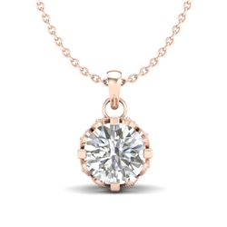 0.85 CTW VS/SI Diamond Solitaire Art Deco Stud Necklace 18K Rose Gold - REF-138F4M - 36840