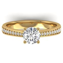 1.01 CTW Certified VS/SI Diamond Solitaire Art Deco Ring 14K Yellow Gold - REF-176X5T - 30383