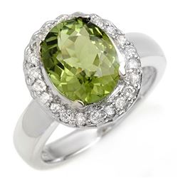 3.40 CTW Green Tourmaline & Diamond Ring 10K White Gold - REF-86X2T - 10482