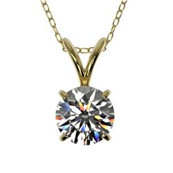 0.77 CTW Certified H-SI/I Quality Diamond Solitaire Necklace 10K Yellow Gold - REF-100W2H - 36741