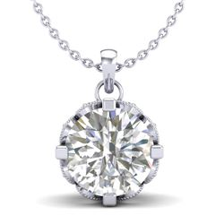 1.5 CTW VS/SI Diamond Solitaire Art Deco Stud Necklace 18K White Gold - REF-363R5K - 36845
