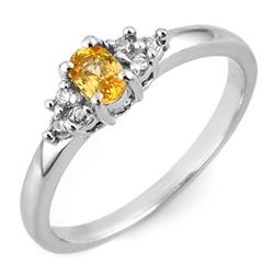 0.44 CTW Yellow Sapphire & Diamond Ring 18K White Gold - REF-33T3X - 11581