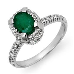 1.90 CTW Emerald & Diamond Ring 14K White Gold - REF-62M5F - 14387