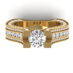 4.5 CTW Certified VS/SI Diamond Art Deco Micro Ring 14K Yellow Gold - REF-572M4F - 30287