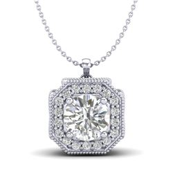 1.54 CTW VS/SI Diamond Solitaire Art Deco Necklace 18K White Gold - REF-418M2F - 37325