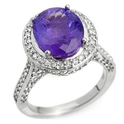6.25 CTW Tanzanite & Diamond Ring 18K White Gold - REF-268M2F - 10494