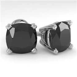 6 CTW Cushion Black Diamond Stud Designer Earrings 14K White Gold - REF-140K4R - 38392