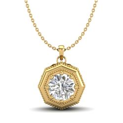 0.75 CTW VS/SI Diamond Solitaire Art Deco Necklace 18K Yellow Gold - REF-180X2T - 37099