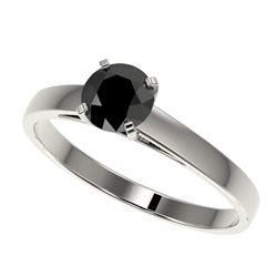 0.75 CTW Fancy Black VS Diamond Solitaire Engagement Ring 10K White Gold - REF-28K5R - 32974