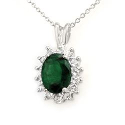 1.80 CTW Emerald & Diamond Pendant 18K White Gold - REF-38M2F - 13580