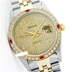 Rolex Ladies Two Tone 14K Gold/SS, Diam Pave Dial & Diam/Ruby Bezel, Saph Crystal - REF-420X2A