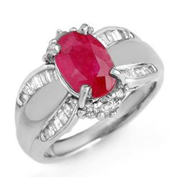 3.01 CTW Ruby & Diamond Ring 18K White Gold - REF-105Y5N - 12834