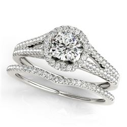 0.96 CTW Certified VS/SI Diamond 2Pc Wedding Set Solitaire Halo 14K White Gold - REF-134N9Y - 31040