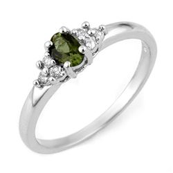 0.44 CTW Green Tourmaline & Diamond Ring 18K White Gold - REF-38X2T - 11195