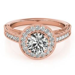 1.5 CTW Certified VS/SI Diamond Solitaire Halo Ring 18K Rose Gold - REF-485M6F - 26525