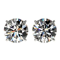 3 CTW Certified H-SI/I Quality Diamond Solitaire Stud Earrings 10K White Gold - REF-623H3W - 33120