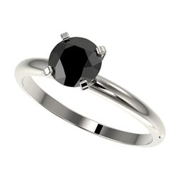 1 CTW Fancy Black VS Diamond Solitaire Engagement Ring 10K White Gold - REF-32F8M - 32887