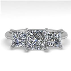 2.0 CTW Princess VS/SI Diamond 3 Stone Designer Ring 18K White Gold - REF-390Y2N - 32472