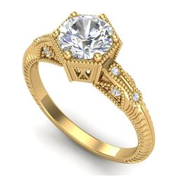 1.17 CTW VS/SI Diamond Solitaire Art Deco Ring 18K Yellow Gold - REF-381M8F - 37216