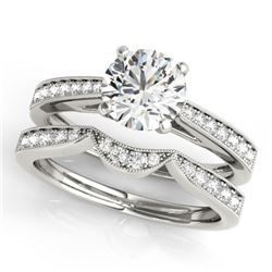 0.94 CTW Certified VS/SI Diamond Solitaire 2Pc Wedding Set 14K White Gold - REF-135N6Y - 31724