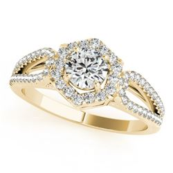 0.90 CTW Certified VS/SI Diamond Solitaire Halo Ring 18K Yellow Gold - REF-137W3H - 26756