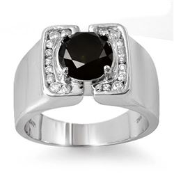 2.33 CTW Vs Certified Black & White Diamond Mens Ring 10K White Gold - REF-90N8Y - 11817