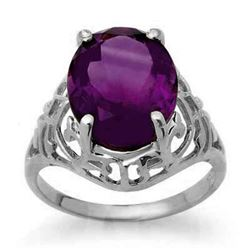 4.50 CTW Amethyst Ring 14K White Gold - REF-30T8X - 13601