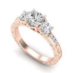 1.41 CTW VS/SI Diamond Solitaire Art Deco 3 Stone Ring 18K Rose Gold - REF-263F6M - 37008
