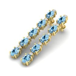 12.47 CTW Aquamarine & VS/SI Certified Diamond Tennis Earrings 10K Yellow Gold - REF-126T5X - 29474