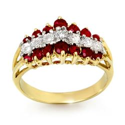 1.06 CTW Ruby & Diamond Ring 10K Yellow Gold - REF-30M5F - 12388