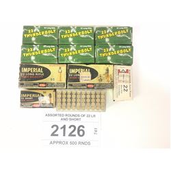 ASSORTED ROUNDS OF 22 LR AND SHORT