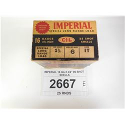 "IMPERIAL 16 GA 2 3/4"" #6 SHOT SHELLS"