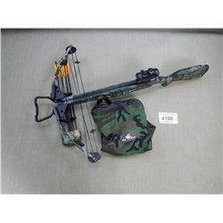 PARKER COMPOUND TERMINATOR CROSSBOW WITH  SIMMONS RED DOT SCOPE HAS QUIVER WITH HUNTING TIPS ON BOLT