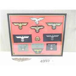 ASSORTED MOUNTED GERMAN PATCHES/BADGES