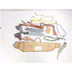 ASSORTED HOLSTER, SLINGS, BELTS, AND CASES