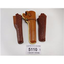 3 LEATHER PISTOL HOLSTERS