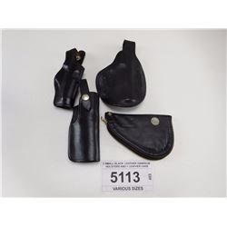 3 SMALL BLACK  LEATHER HANDGUN HOLSTERS AND 1 LEATHER CASE