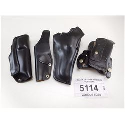 4 BLACK LEATHER HANDGUN HOLSTERS