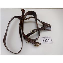 1 BROWN LEATHER BELT WITH SWORD FROG