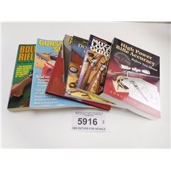 ASSORTED LOT OF 6 SOFTCOVER BOOKS ON RIFLE ACCURACY, MUZZLE LOADING AND GUNSMITHING